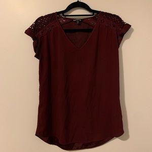 Express Cranberry Silk Short Sleeved Blouse